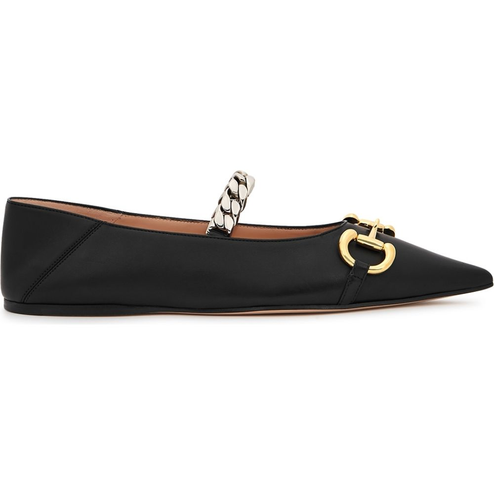 Gucci古驰(Gucci)女士平底鞋鞋/鞋[Deva Horsebit缀饰皮革平底鞋]黑色