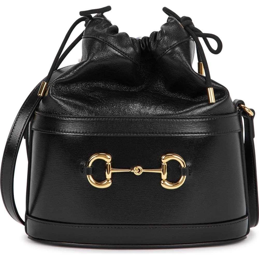 レディースバッグ, その他  Gucci Morsetto Small Black Leather Bucket BagBlack