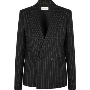 Yves Saint Laurent Saint Laurent Ladies Suit Jacket Outerwear [Black Pinstriped Wool-Blend Blazer] Black