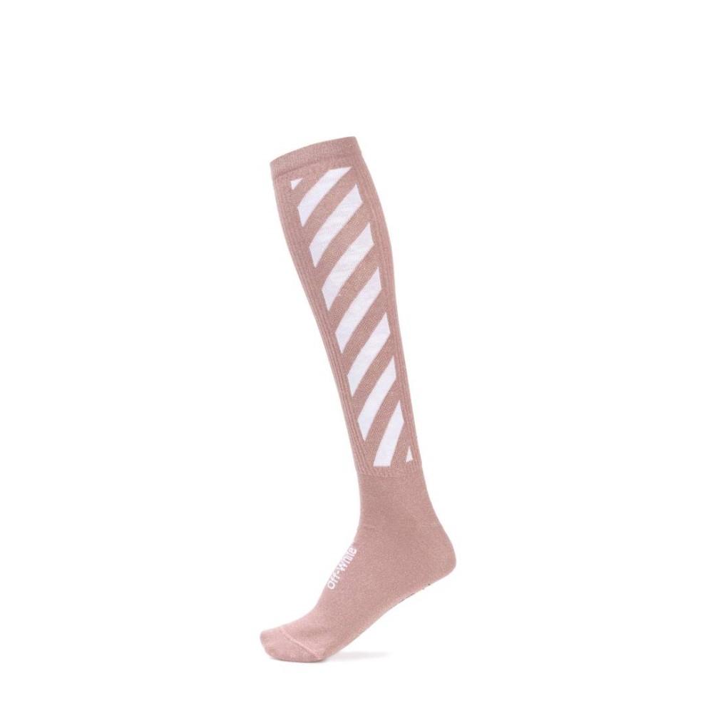オフ-ホワイト Off-White レディース インナー ソックス【Striped cotton-blend knee socks】:フェルマート