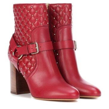 ヴァレンティノ レディース シューズ・靴 ブーツ【Valentino Garavani Rockstud Spike leather ankle boots】Rosso V