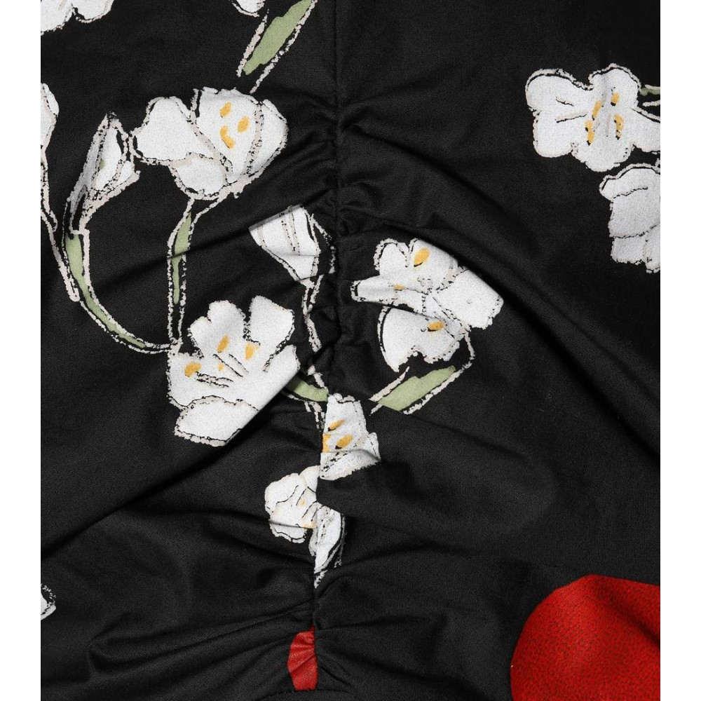 イサアーフェン レディース ワンピース・ドレス ワンピース【Floral-printed cotton minidress】Black