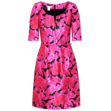 オスカー デ ラ レンタ レディース ワンピース・ドレス ワンピース【Floral-printed silk and cotton dress】Ultrapink/Ulp