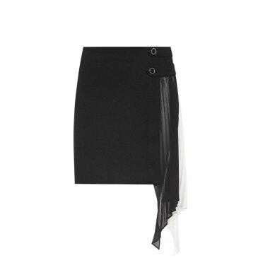 ジバンシー レディース スカート ミニスカート【Georgette-panelled wool miniskirt】Black/White