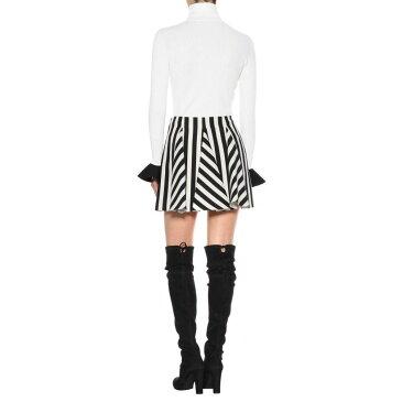 ヴァレンティノ レディース スカート ミニスカート【Striped wool and silk miniskirt】Nero/Bianco