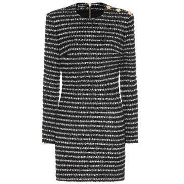バルマン レディース ワンピース・ドレス ワンピース【Striped tweed minidress】Noir/Blanc