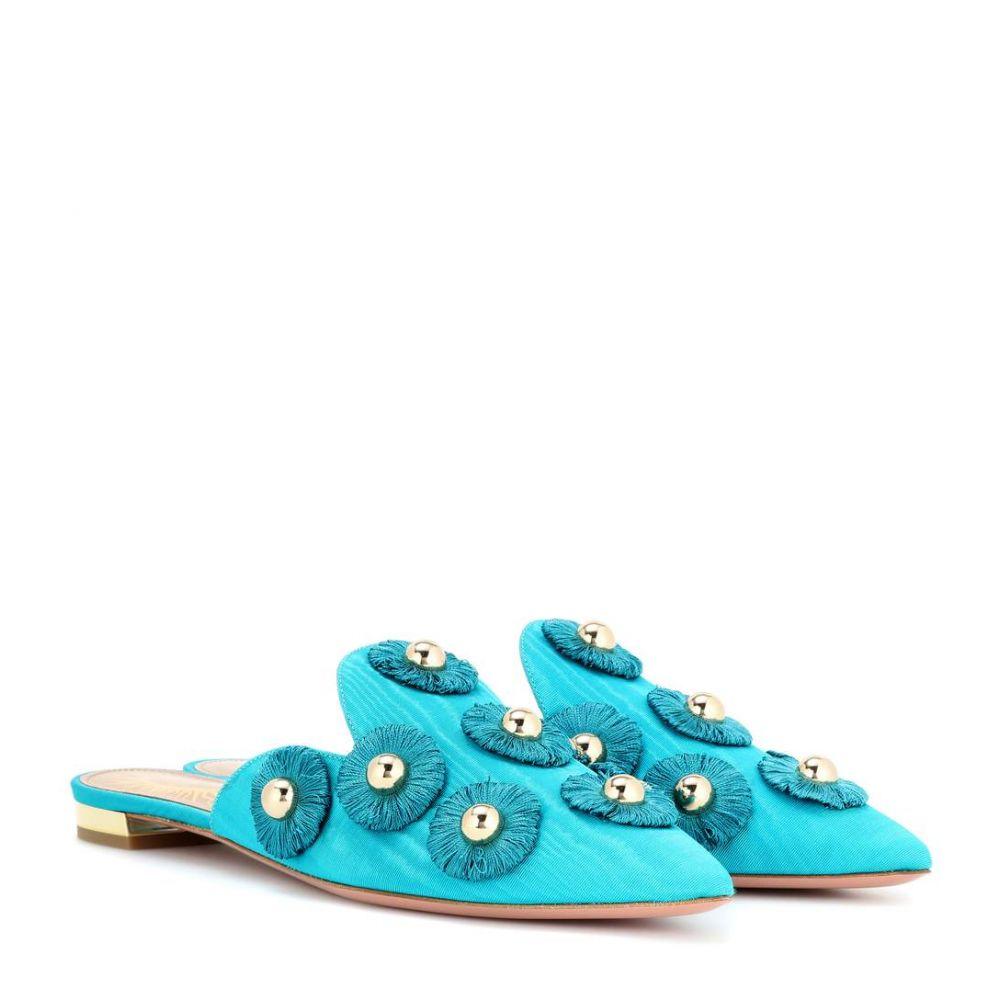 アクアズーラ Aquazzura レディース シューズ・靴 サンダル・ミュール【Sunflower moire mules】Aquamarine