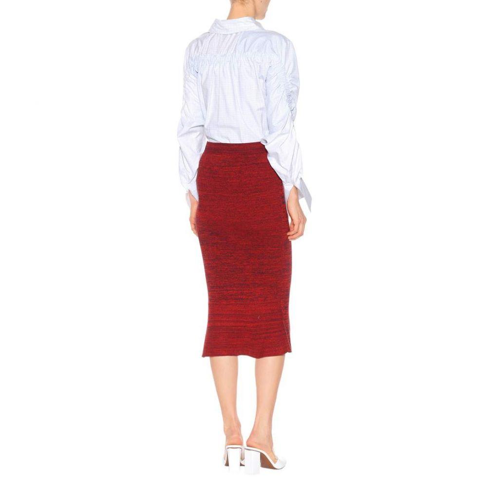 ステラ マッカートニー Stella McCartney レディース スカート ひざ丈スカート【Knitted cotton midi skirt】Red/Navy