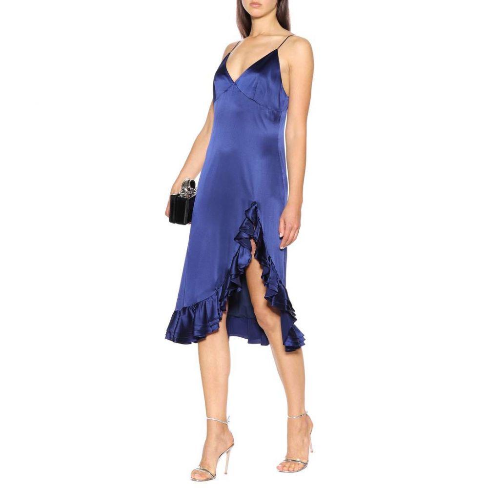 キャロライン コンスタス Caroline Constas レディース ワンピース・ドレス パーティードレス【Elvira silk slip dress】indigo