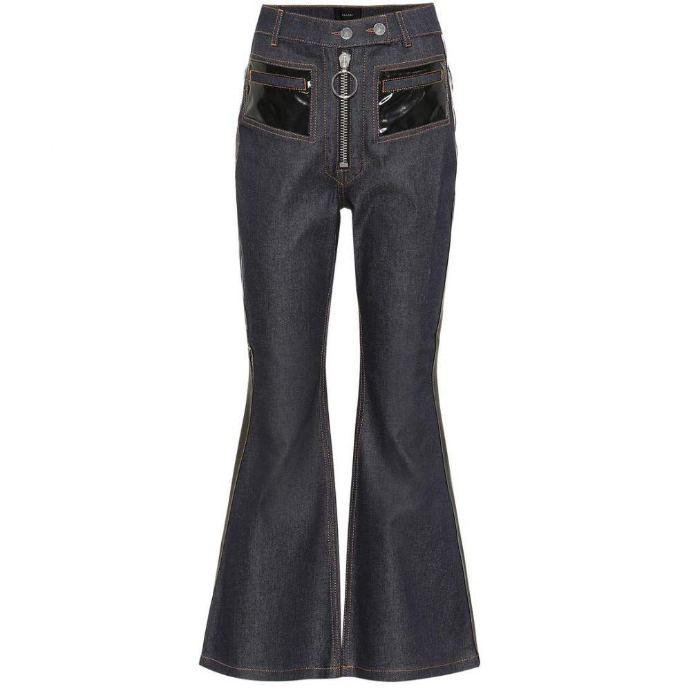 エラリー Ellery レディース ボトムス・パンツ ジーンズ・デニム【Vinyl-embellished flared jeans】Navy with Black