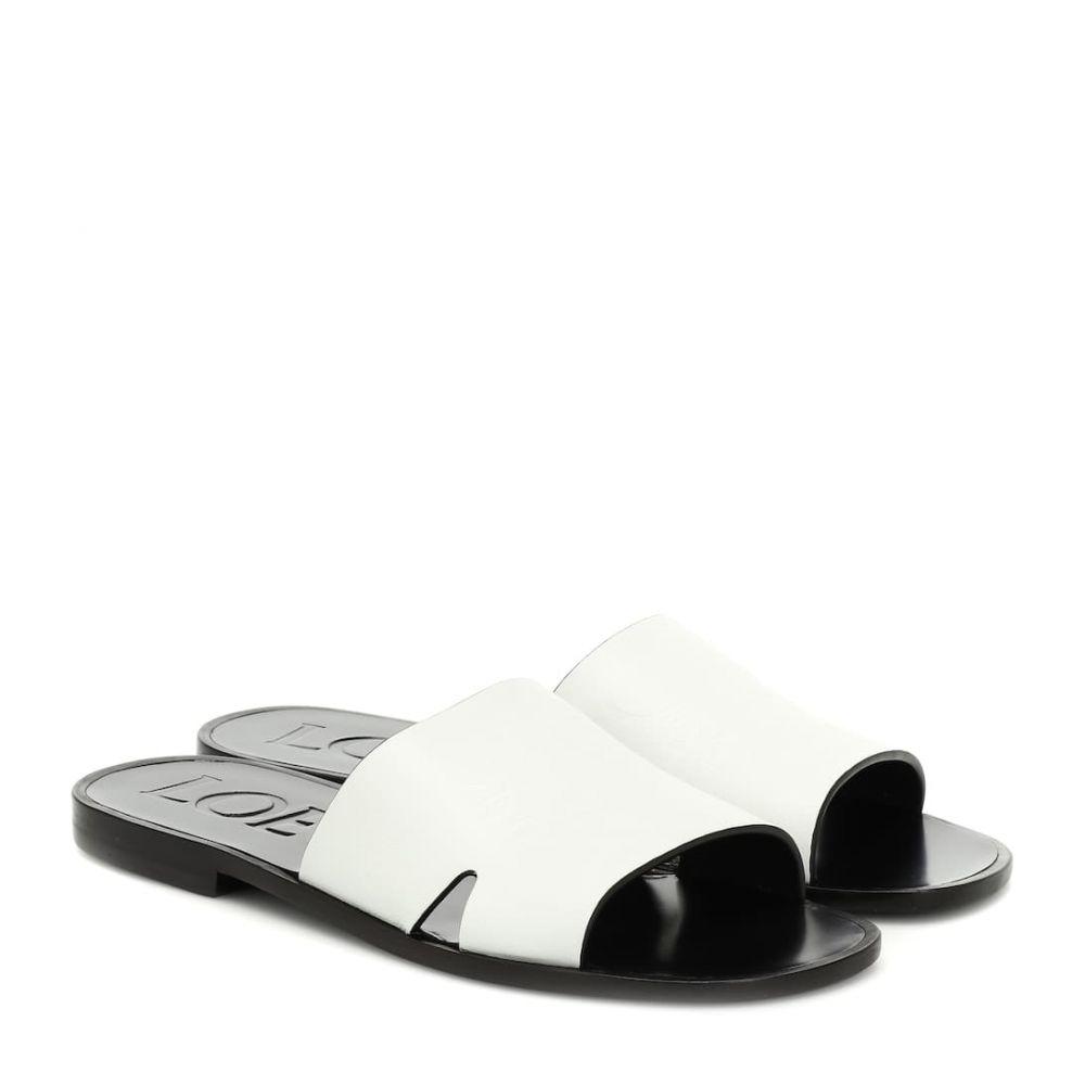 ロエベ Loewe レディース シューズ・靴 サンダル・ミュール【Anagram leather slides】white