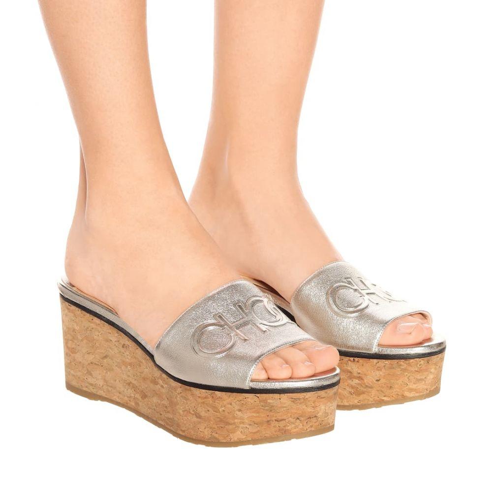 ジミー チュウ Jimmy Choo レディース シューズ・靴 サンダル・ミュール【Deedee 80 leather wedge sandals】Silver