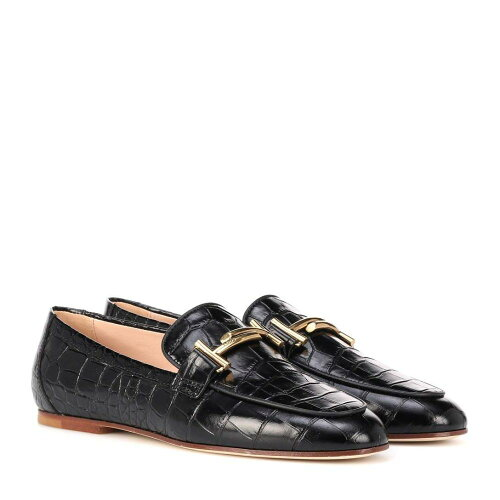 TOD'S Croc-embossed leather loafers ローファー