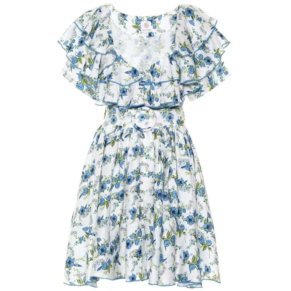ギュル ヒュゲル Gul Hurgel レディース ワンピース・ドレス ワンピース【Floral linen minidress】Blue/White