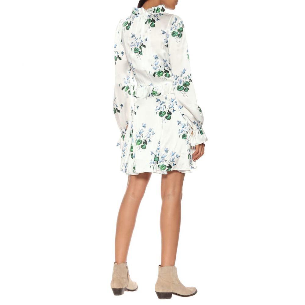 レ レヴェリズ Les Reveries レディース ワンピース・ドレス ワンピース【Floral silk-satin minidress】Blue Daffodil W White