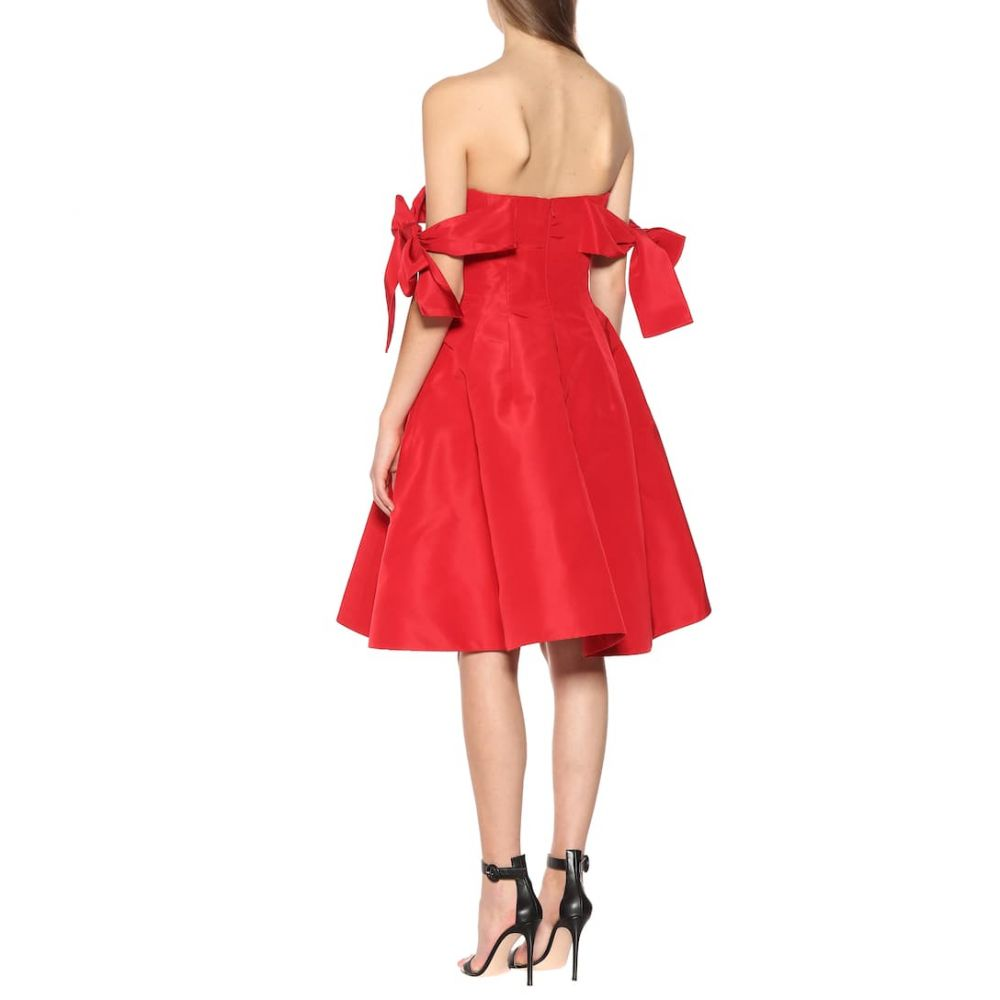オスカー デ ラ レンタ Oscar de la Renta レディース ワンピース・ドレス パーティードレス【Silk satin off-the-shoulder dress】Scarlet