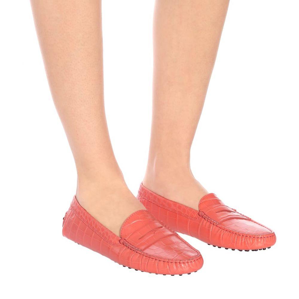 トッズ Tod's レディース シューズ・靴 ローファー・オックスフォード【Gommino croc-effect leather loafers】blush
