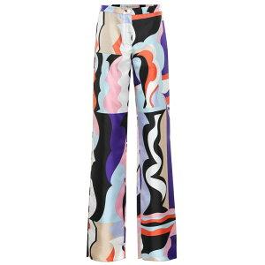 Emilio Pucci女士九分裤[印花真丝斜纹布裤子] Viola/Corallo