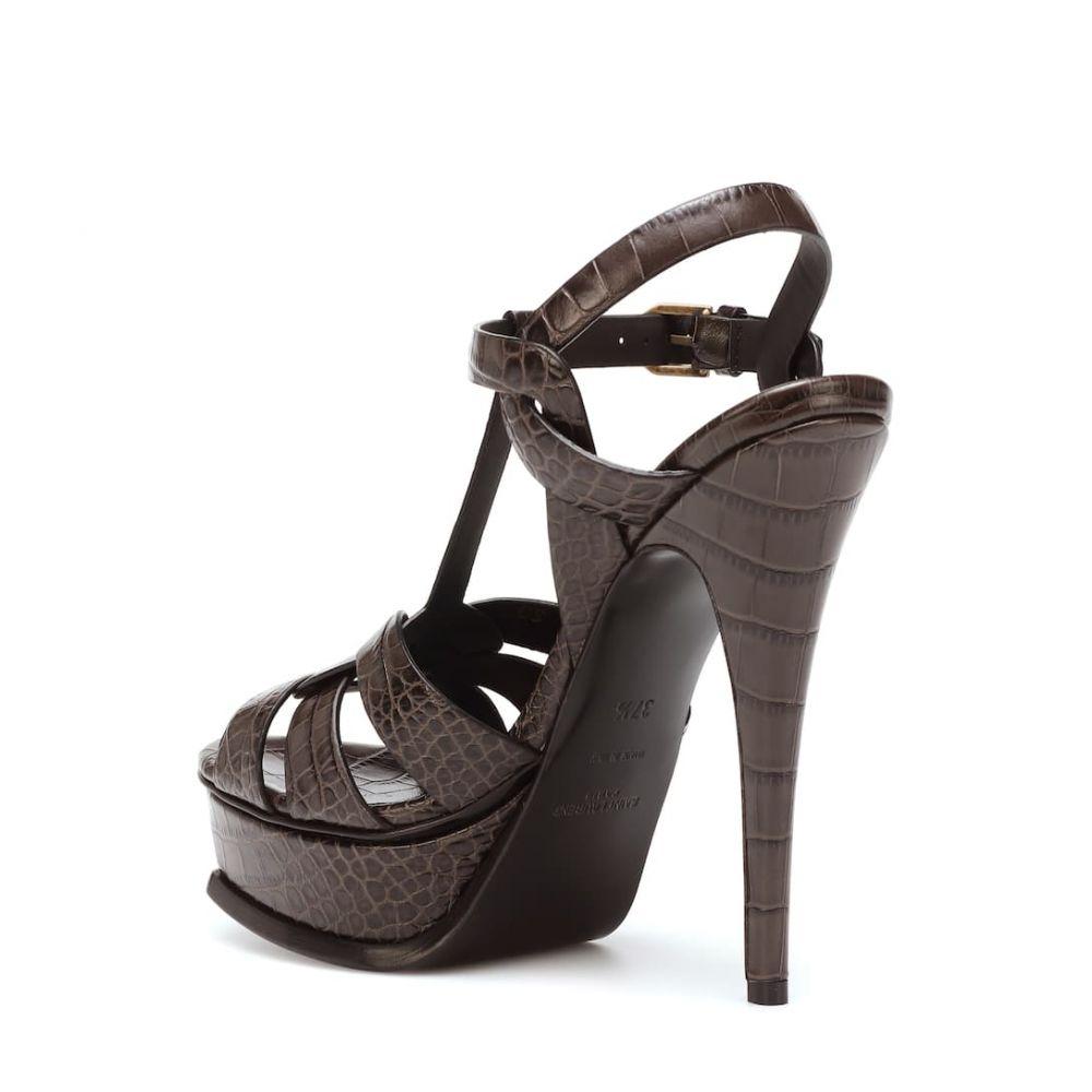 イヴ サンローラン Saint Laurent レディース シューズ・靴 サンダル・ミュール【Tribute 105 leather sandals】ultra grey