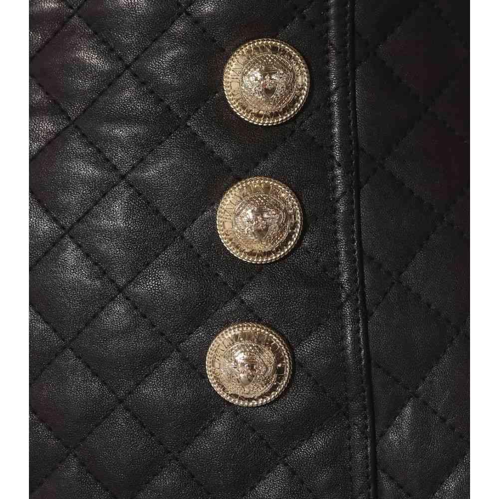 バルマン Balmain レディース スカート【Quilted leather skirt】Noir