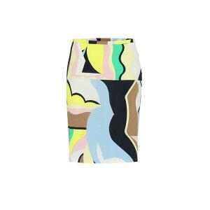Emilio Pucci女士半身裙迷你裙[印花真丝混纺平纹针织半身裙] Emeraldo/Menta