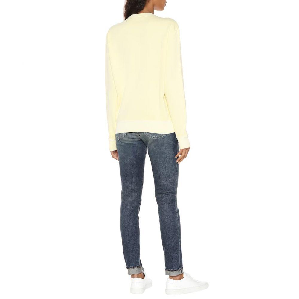 イヴ サンローラン Saint Laurent レディース トップス スウェット・トレーナー【Cotton sweatshirt】Jaune Pale/Noir