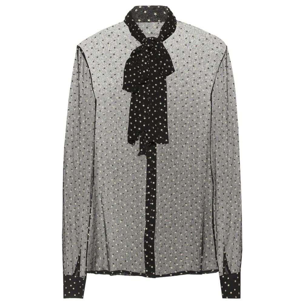 イヴ サンローラン Saint Laurent レディース トップス ブラウス・シャツ【Star-printed silk shirt】Noir Or