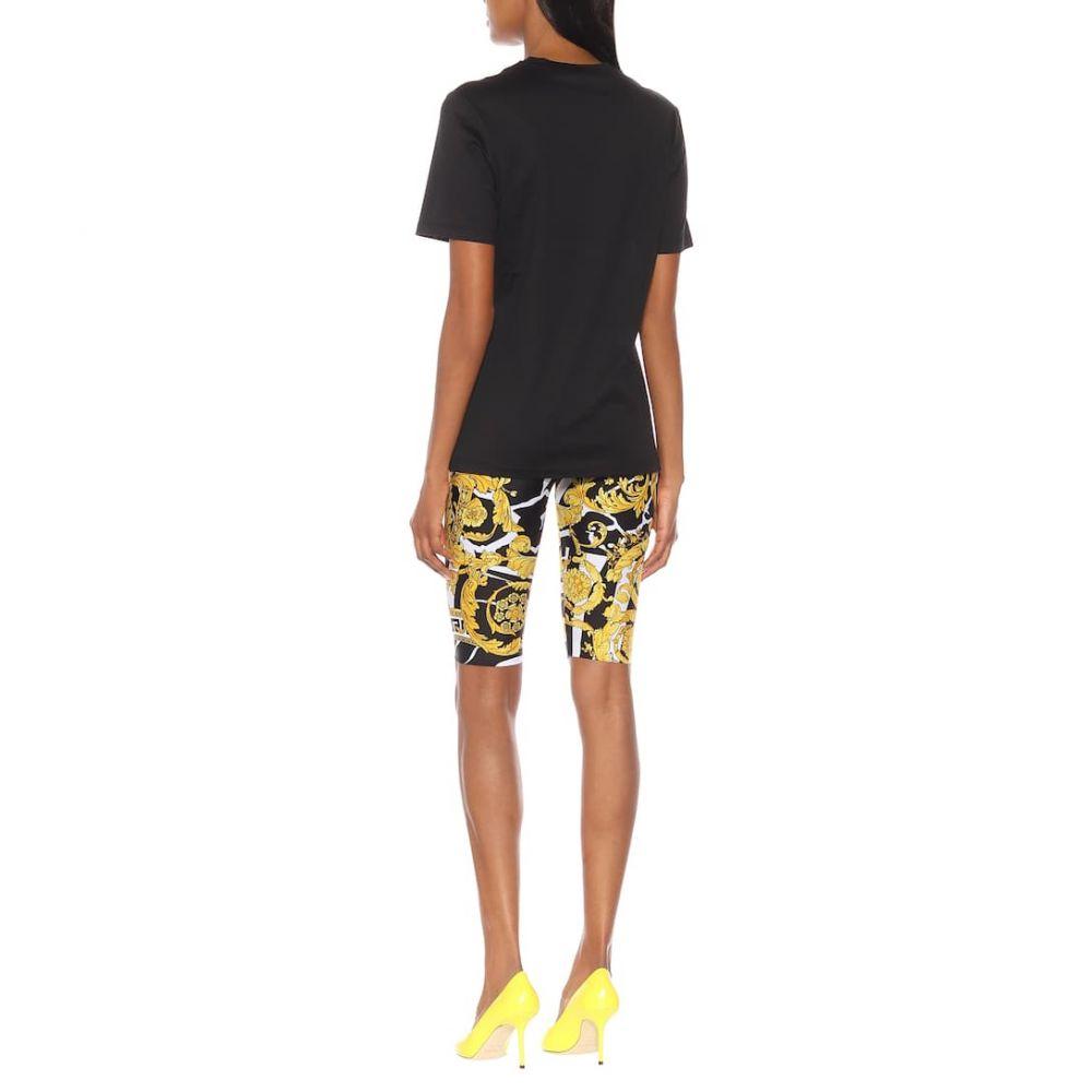 ヴェルサーチ Versace レディース トップス Tシャツ【Logo cotton T-shirt】Black-Gold