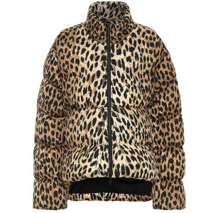 Balenciaga Women's Down/Batting Jacket Outerwear [Leopard-print puffer jacket] Beige