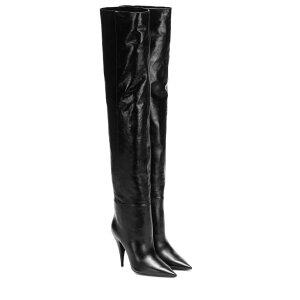 Yves Saint Laurent Saint Laurent Boots Shoes/Shoes [Kiki 100 leather knee-high boots] Noir