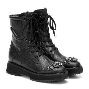 지미 추 지미 추 여성 부츠 발목 부츠 신발 / 신발 [해들리 플랫 가죽 발목 부츠] 블랙 블랙 다이아몬드