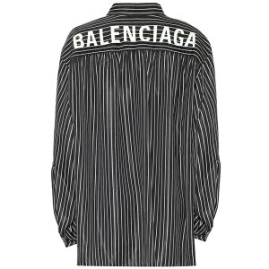 Balenciaga Women's blouse/shirt tops [scarf striped shirt] Black/White