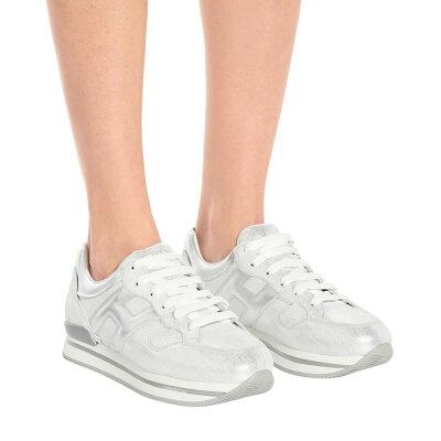 ホーガンHoganレディーススニーカーシューズ?靴【H222metallicleathersneakers】Argento