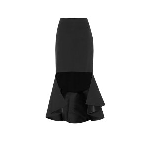 Givenchy Givenchy Ladies Knee Length Skirt Skirt [Asymmetric wool midi skirt] Black