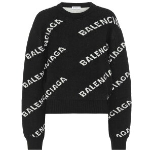 Balenciaga Women's Knitwear Sweater Tops [Logo intarsia wool sweater] Black/White