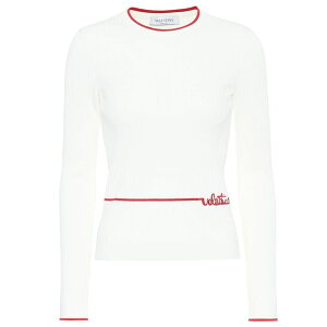 Valentino Ladies Knit Sweater Top [Pull en maille côtelée] Avorio / Rosso