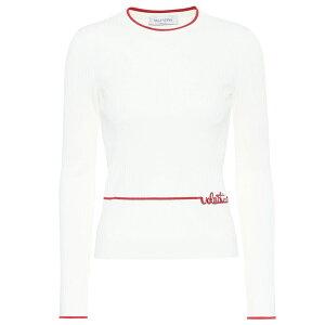 Валентино Ladys Трикотажный топ свитера [свитер в рубчик] Аворио / Россо