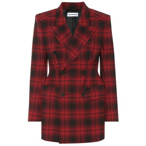 Balenciaga Women's Suit/Jacket Outerwear [Hourglass checked blazer] Red/Black