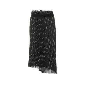Balenciaga女士及膝半身裙[百褶印花中长裙]黑色