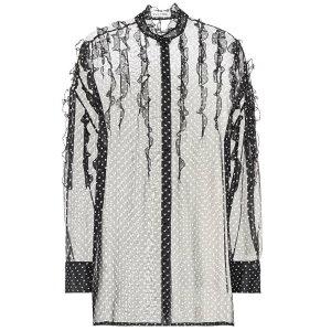 Valentino Ladies 블라우스 / 셔츠상의 [Polka-dot silk shirt] 블랙 / 아이보리