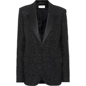 イヴ サンローラン Saint Laurent レディース スーツ・ジャケット アウター【Metallic lame blazer】Noir