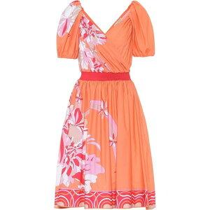 Emilio Pucci Ladies Dress One Piece Dress [Floral stretch-cotton dress] Corallo/Beige