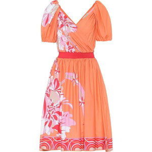 Платье Эмилио Пуччи Ladies One Piece Dress [Цветочное платье из эластичного хлопка] Corallo / Beige