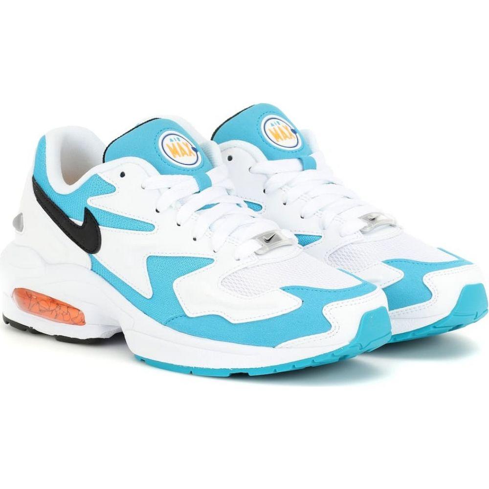 ナイキ Nike レディース スニーカー シューズ・靴【air max2 light sneakers】White/Black/Blue Lagoon画像