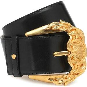 Версаче Версаче Ladies Belt [черный кожаный ремень] черный / золотой трибьют