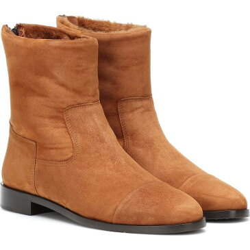 Bougeotte レディース ブーツ ショートブーツ シューズ・靴【shearling-lined suede ankle boots】cinnamon brown