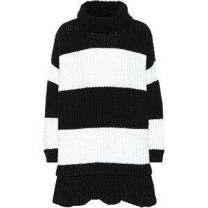 Валентино Ladies One Piece One Piece платье [полосатое платье из девственной шерсти] черный / слоновая кость