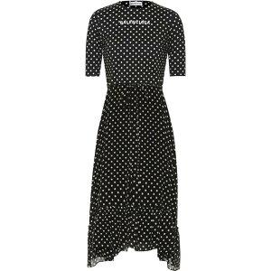 Balenciaga女士一件中长一件连衣裙[绉纱圆点中长连衣裙]黑色/白色