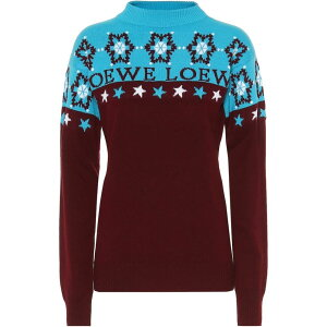 Loewe女士针织衫上衣[雪花羊毛衫]酒红色/蓝色