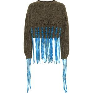 Loewe罗意威(Loewe)女士针织毛衣上衣[羊毛和羊驼毛混纺毛衣]卡其绿色/蓝色